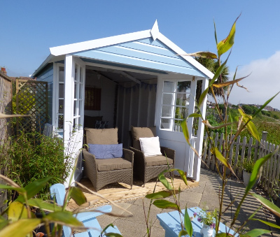 Beach hut fun at Pebble Cottage