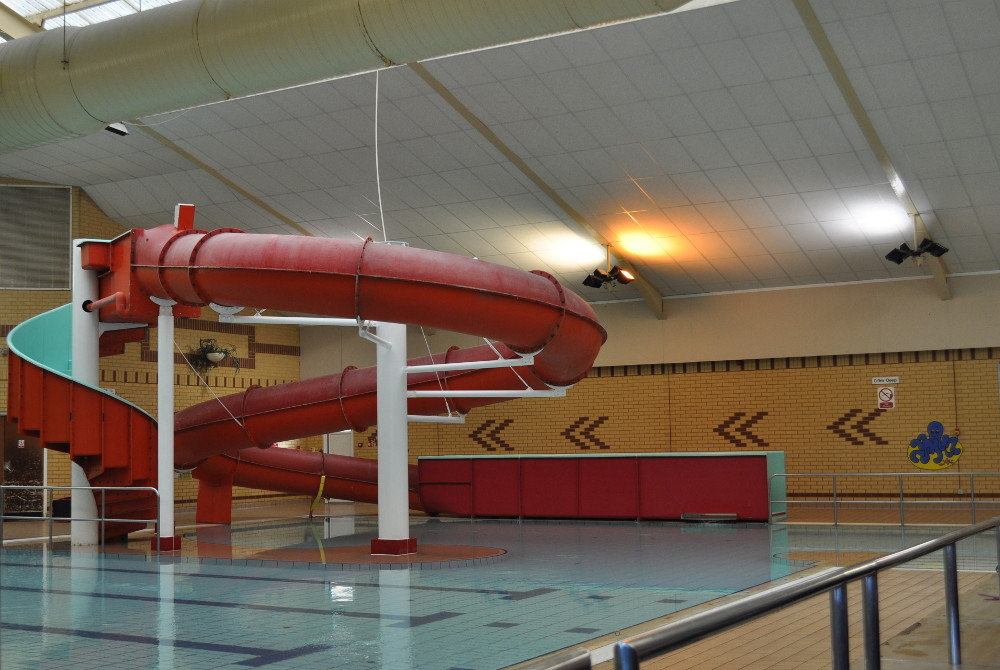 Bungay swimming pool, and water slide