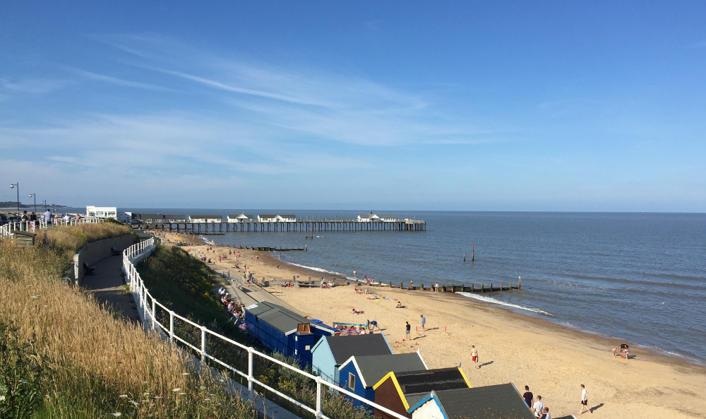 The beach and pier at Southwold